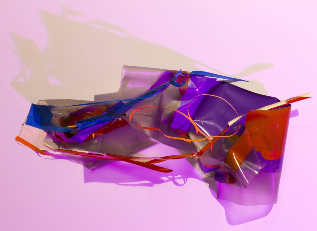 """""""Light as a feather"""" photo made in studio from different color lamps"""